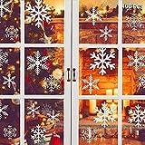 Flysee Navidad Pegatinas de Pared Calcomanías de Ventana de Copo de Nieve Pegatinas de PVC para Ventanas Vidrios Navidad Decoración Decoración de la Pared Blanco(108 pcs Copo de Nieve)