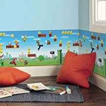 RoomMates Nintendo Mario Peel and Stick Wallpaper Border,Red, Blue, Green