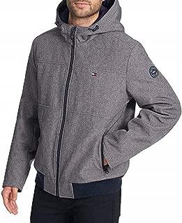 Men's Soft-Shell Bomber Jacket, (Grey,Large)