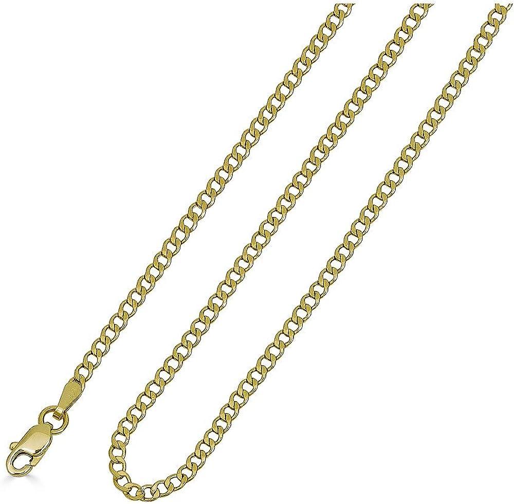 VESA JEWELS 10K Dainty Thin Yellow Gold Italian Cuban Curb Chain Necklace 2.2MM Pure 10 Karat Gold Necklace, 16''-30'' Men Women Unisex Teens 10k Cuban Curb Chain Necklace