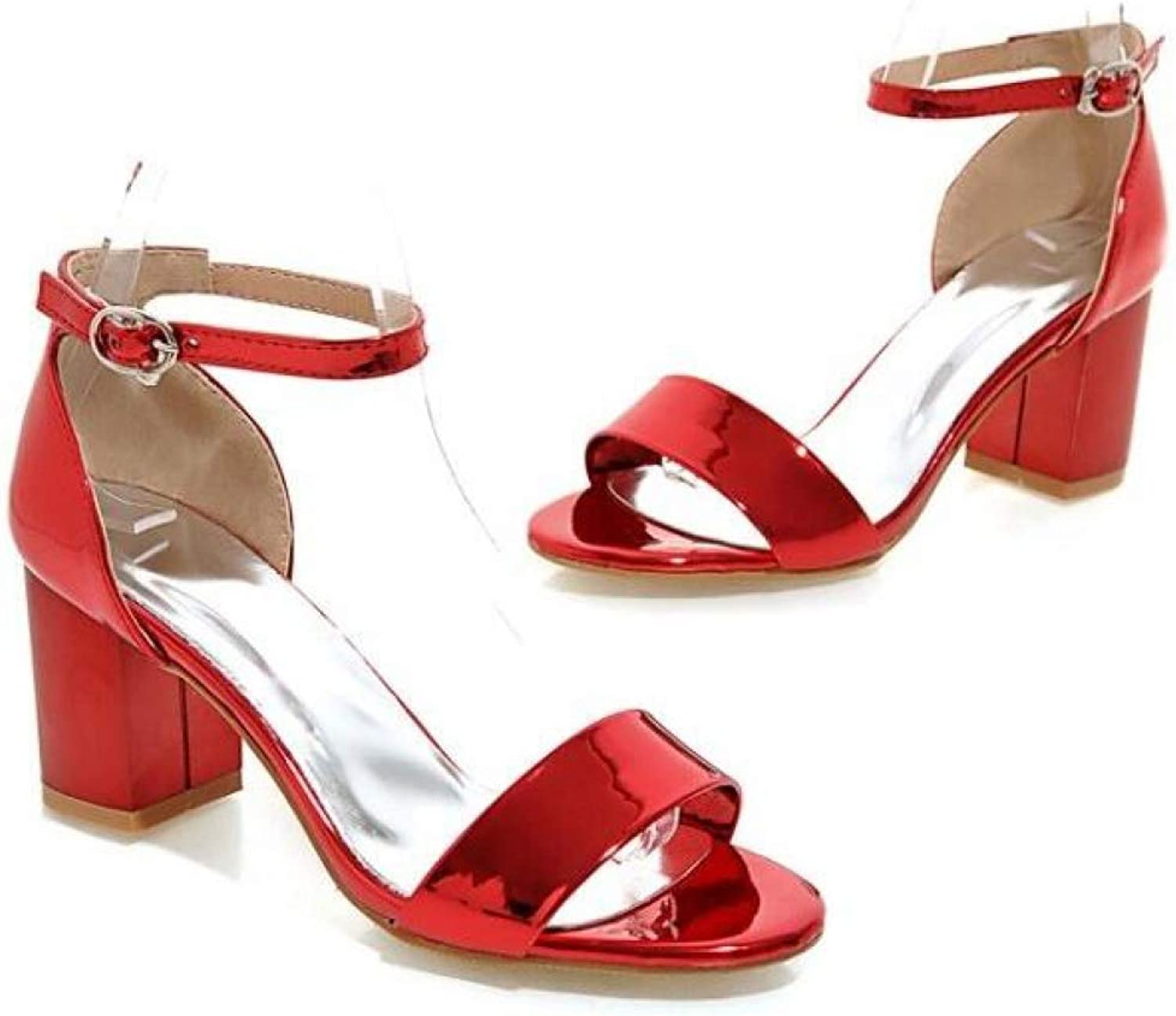 T-JULY Women's Sandals Square High Heel Peep Toe Sexy Fashion Casual shoes with Buckle Ankle Strap for Spring Summer