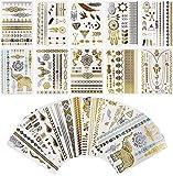 Tatouages Temporaires, 16 Planches Temporaires Tattoos, Autocollants Métalliques Étanche Dorés Faux Tatouages, Motifs Variés
