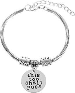 GAWEI Charms Bracelets for Women Inspirational This Too Shall Pass Engraved Positive Mantra Message