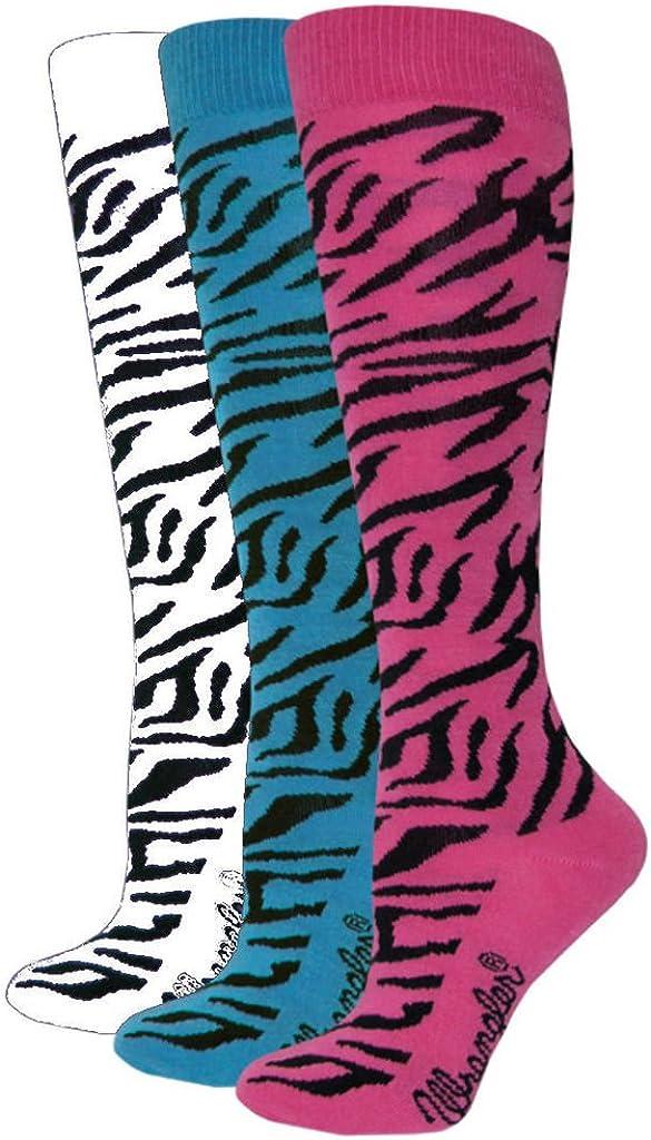 Wrangler Ladies Zebra Boot Sock 1 Pair, W 7.5-9.5 / M 6-8