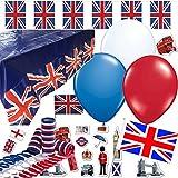146-teiliges Dekoset * England * für eine Länder-Party // mit Tischdecke + Wimpelkette + Flaggen + Picker + Luftballons + Luftschlangen + Konfetti // Deko Dekoration Set Mottoparty GB UK
