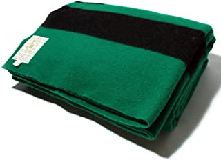 Hudson's Bay Company 90 by 100-Inch Queen Size 6 Point Blanket, Green/Black Stripe