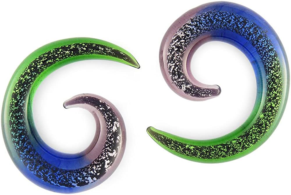 Pair Dichroic Pyrex Glass Spiral All stores are Luxury goods sold 8mm Gauge 0g 0