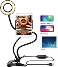Selfie Ring Light with Stand for Live Stream - GLCON Makeup Ring Light for YouTube - Dimmable LED Camera Light with Cell Phone Holder for iPhone Xs Max 8 7 6 Plus Samsung Galaxy Android