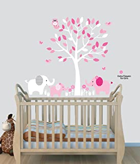 Elephant Nursery Tree Decal, Pink Wall Stickers, Animal Decals, Baby Pink