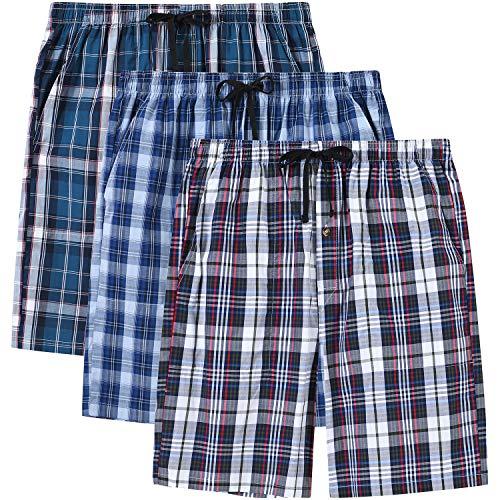 MoFiz Hombre Pantalón Corto de Pijama Casual Shorts a Cuadros de Algodón con Bolsillos 3 Pack-26C, L
