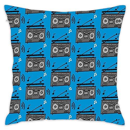 N\A Boom Box Beats Funda de Almohada de algodón Funda de cojín de algodón Funda de Almohada Cuadrada estándar para sofá y Cama