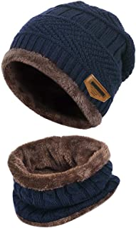 Yvechus 3 in 1 Winter Beanie Hat Scarf and Gloves Set Warm Knit Hat Thick Fleece Lined for Men Women
