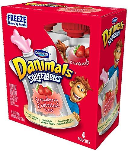 Dannon Danimals Lowfat Yogurt Pouches Strawberry Explosion 3.5 oz. 4 Pack