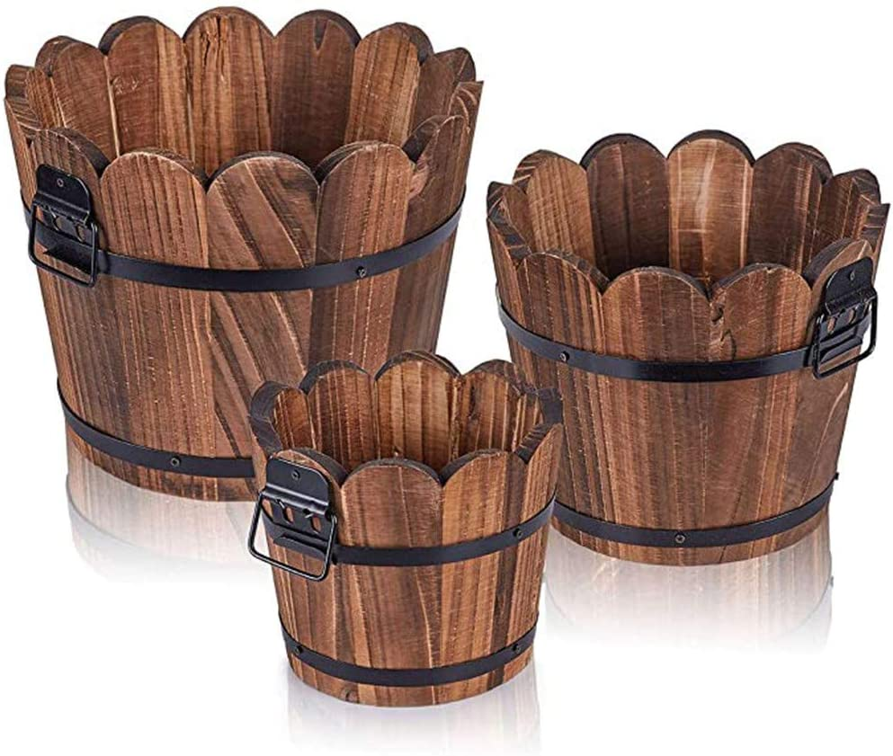 Flower Pots Carbonized Wavy Wood Garden Planter with Drainage Hole Multi Meat Bucket Indoor Outdoor Plant Barrel L