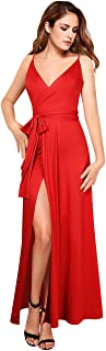 GlorySunshine Women's Spaghetti Straps Blackless Vintage Ruched Split Side Cocktail Party Maxi Dress with Pockets