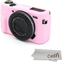 CEARI Silicone Case Rubber Camera Protective Cover Skin for Canon PowerShot G7X Mark II Digital Camera + Microfiber Cloth - Pink