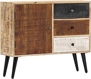 Festnight Estilo Vintage Aparador de Madera Maciza de Mango 88x30x73 cm con 3 cajones y 1 Puerta Aparador Salon Comedor A...