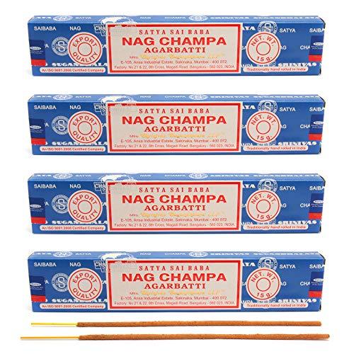 aqasha Satya Sai Baba Nag-Champa Agarbatti | 48 Sticks | 20 cm | Brenndauer 45 min. | Räucher-Stäbchen-Set | Masala Indische Gewürz-Mischung | Incense