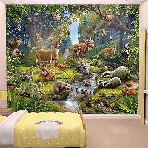 Fototapete Tiere des Waldes inkl. Tapetenkleister Kindertapete Wandtapete