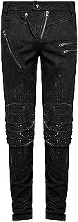 Punk Rave Uomo DieselPunk Pantaloni Jeans Nero Goth Punk Ginocchiere pantaloni