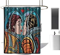 TimBeve Camper Shower Curtain Love,Space Man and Woman Valentines Kissing Science Cosmos Couple Pop Art Design Print,Multicolor,Eco-Friendly,Bathroom Curtain 60