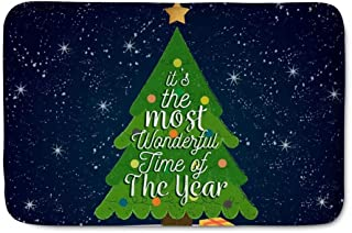 Dellukee Christmas Outdoor Doormats Christmas Tree Print Cute Non Slip Durable Washable Funny Home Decorative Welcome Door Mats Rugs for Entrance Bedroom Bathroom Kitchen