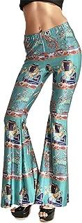 Tobyak Women's Printed High Waist Wide Leg Flare Pants Bell Bottoms Popular