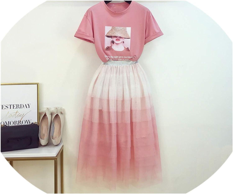 Enjoypeak New Sweet Girls Dress Suit Summer New Printed TShirt + Gradual Cake Skirt Ladies Two Piece