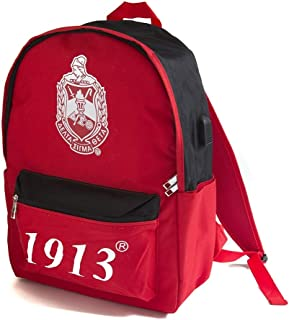 Delta Sigma Theta Red Black USB Port Backpack
