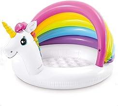 MENGBAO Piscina para bebés con toldo con Parasol, Piscina Inflable para niños, Piscina con Sombra para la Playa para bebés, Piscina Infantil con toldo con Sombra de Unicornio,A