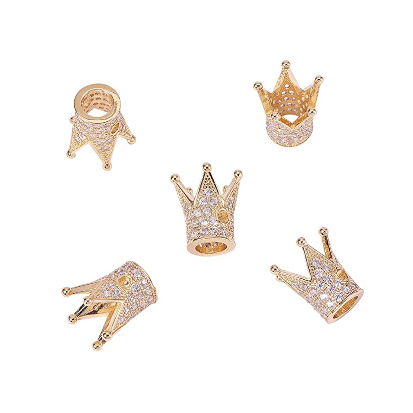 NBEADS 5 Pcs Cubic Zirconia Crown Beads, Golden Color Brass Micro Pave Crown Spacer Beads Bracelet Connector Charm Beads for DIY Jewelry Making, Lead Free & Cadmium Free & Nickel Free