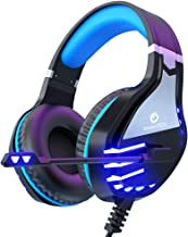 VersionTECH. Stereo Gaming Headset PS4 Xbox One Headset, Wired PC Gamer Headphones with Noise Canceling Mic, LED Lights & in-Line Control for Xbox 1 S/X,Playstation 4, PC Mac Desktop Computer -Silver