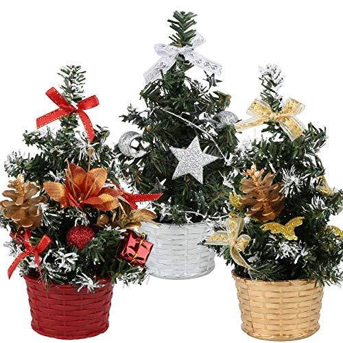 BHGT 3pz Mini Albero di Natale Piccolo Ornamento Natalizio da Tavolo Decorazione Natalizia Oggetti Natallizi Addobbi per Natale Casa Regalo Festa