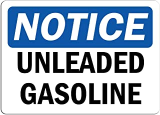 Notice - Unleaded Gasoline Sign | Label Decal Sticker Retail Store Sign Sticks to Any Surface 8