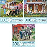 Bits and Pieces - Set of Three (3) 300 Piece Jigsaw Puzzles for Adults - Each Puzzle Measures 18' X 24' - 300 pc Spring Scenes Jigsaws by Artist John Sloane
