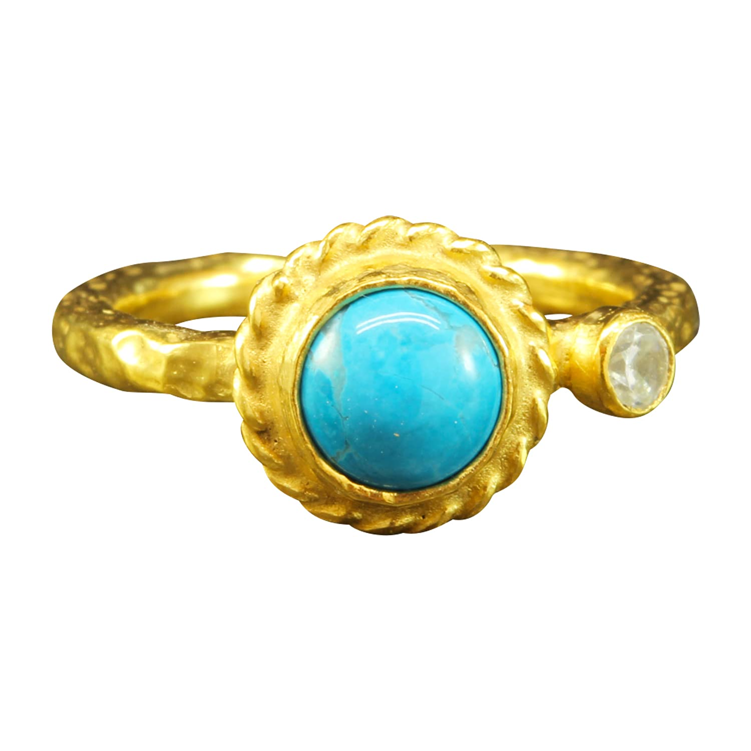 Max 48% OFF Natural Turquoise Ring 925 Sterling 24K Gold Silver Tampa Mall Hand Vermeil
