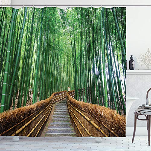 """Ambesonne Jungle Shower Curtain, Tropical Nature Bridge Over Tree Bamboo Exotic Landscape Spa Yoga Design, Cloth Fabric Bathroom Decor Set with Hooks, 70"""" Long, Green Brown"""