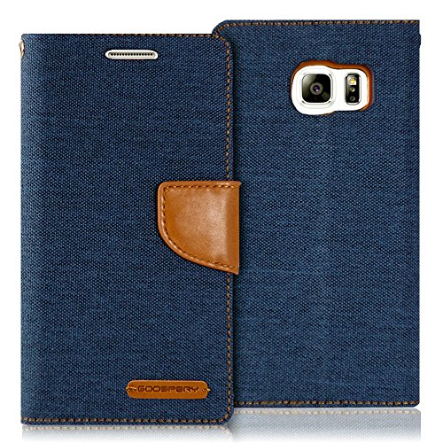 Goospery Canvas Wallet for Samsung Galaxy S6 Case (2015) Denim Stand Flip Cover (Navy) S6-CAN-NVY