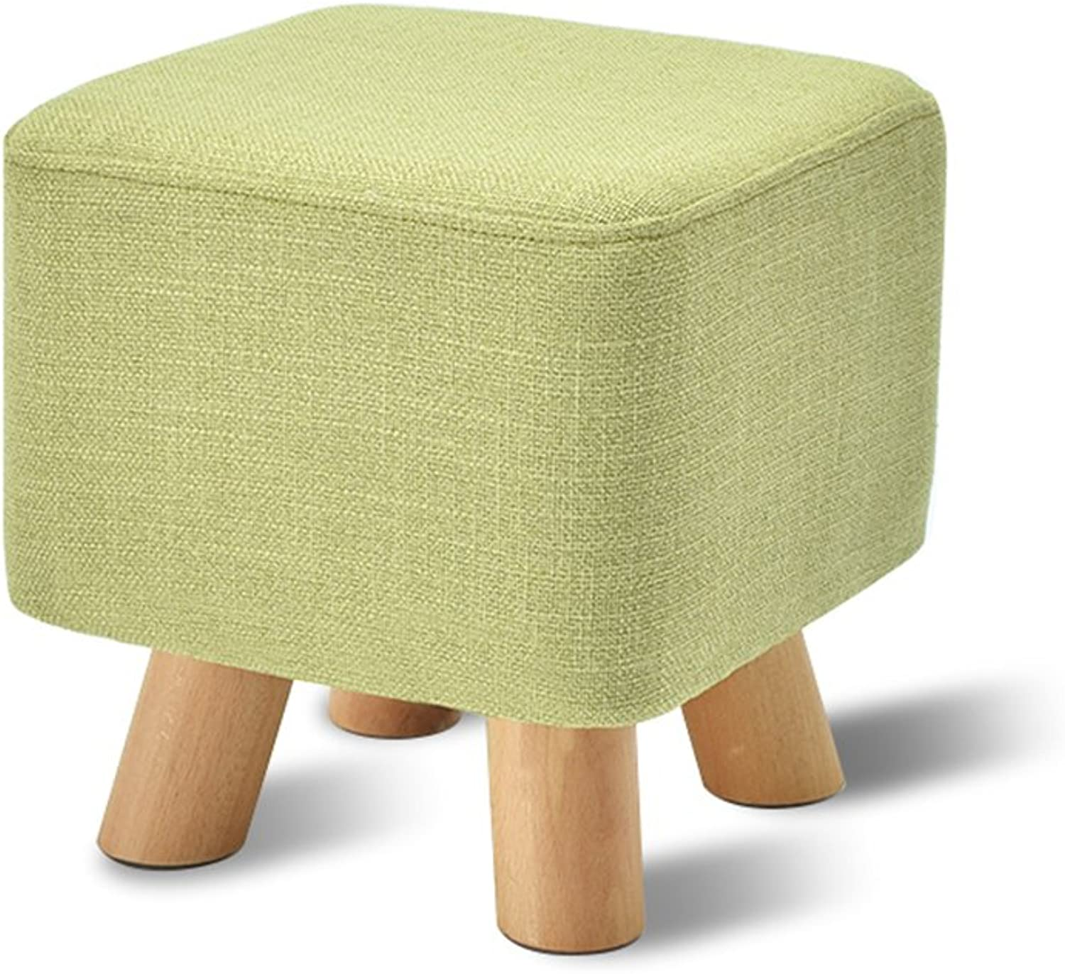 Household stool  Solid wood stool  living room sofa stool   Bed stool Multifunctional footstool   Coffee Table Stool  Creative shoe bench   Bench 292927cm -by TIANTA ( color   Green )