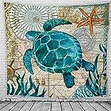 Blau Marine Wandbehang Schildkröte Tapisserie Tuch Wandtuch Gobelin, als Wand Decor Stranddecke Dekotuch Tagesdecke Strandtuch Teppich Picknickdecke Campingdecke 130*150cm