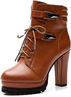 Autumn Round Head Thick High Heel Women's Boots British Martin Boots (Color : Orange, Size : 35)