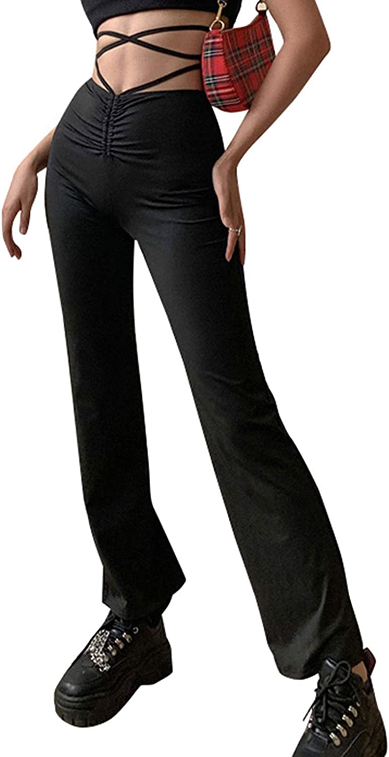 VWIWV Women's Casual Drawstring Ruched Straight Pants Solid Color High Waist Trousers Pants