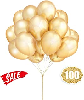 Gold Balloons Hovebeaty 12 Inches thicken Latex Metallic Balloons 100 Pack for Wedding Party Baby Shower Christmas Birthday Carnival Party Decoration Supplies
