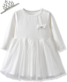 So Smart Baby Girls Clothes Suit Long Sleeve Princess Dresses and Crown Hair Bands 2PCS Outfits Set