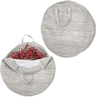 mDesign Soft Fabric Stripe Wreath Storage Bag - Easy-Pull Zippers, Handles, Stores Wreaths - 2 Pack - Taupe/Tan