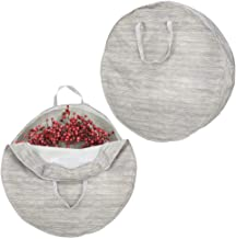 mDesign sac en tissu en lot de 2 pour couronnes - housse de rangement en fibre synthétique pour décorations de Noël - orga...