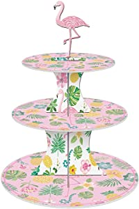 3 Tier Flamingo Pink Cupcake Stand - Cupcake Holder for Kids Birthday Party, Baby Shower,Wedding, Gender Reveal Party - Hawaiian Themed Party Supplies