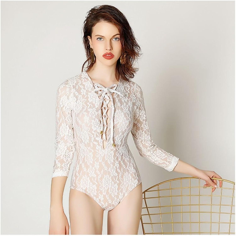 SHUCHANGLE Ladies Swimsuit Lace Unique Pattern Eight Point Sleeve Suntan Swimsuit