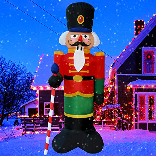 SEASONBLOW 8 Ft LED Light Up Inflatable Christmas Nutcracker House Guard with Candy Scepter Decoration for Yard Lawn Garden Home Party Indoor Outdoor