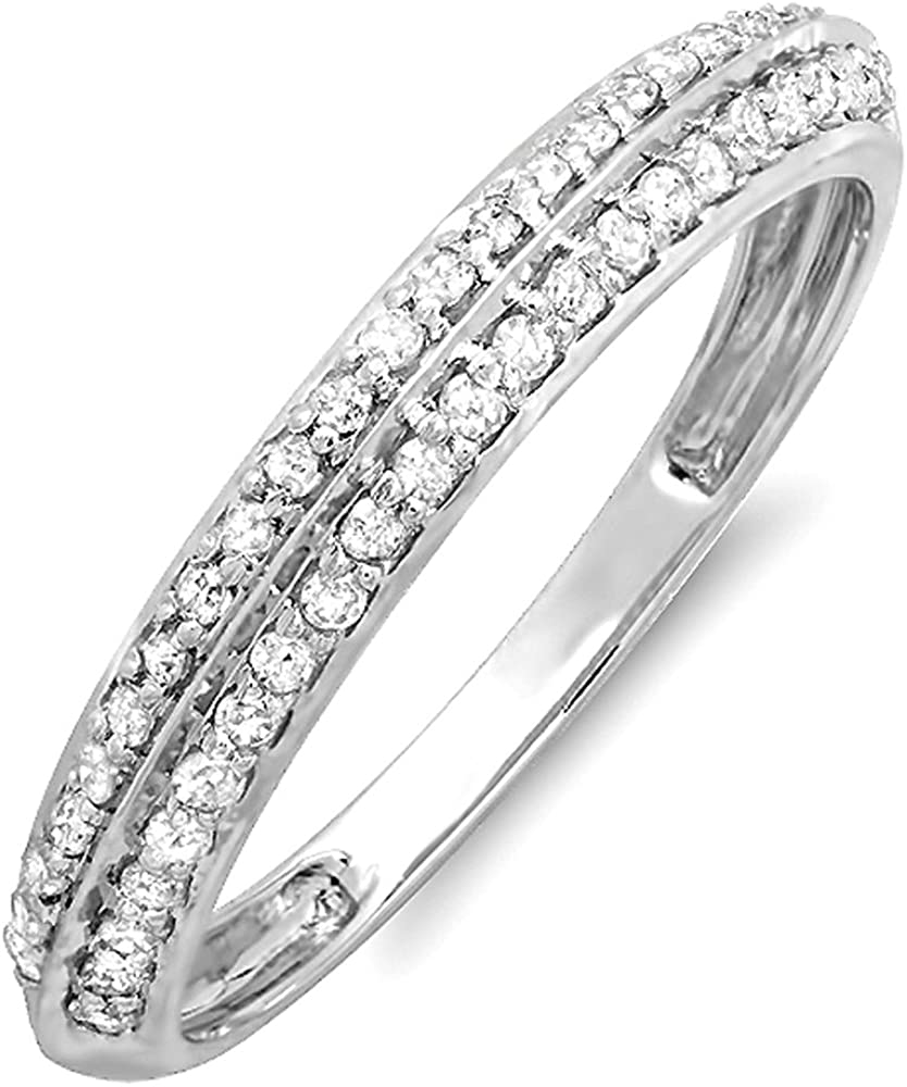 Dazzlingrock Collection 0.25 Carat (ctw) 14K Round Diamond Anniversary Wedding Band Stackable Knife edge Ring 1/4 CT, White Gold